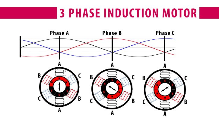 magnetic rotation for three phase induction motor