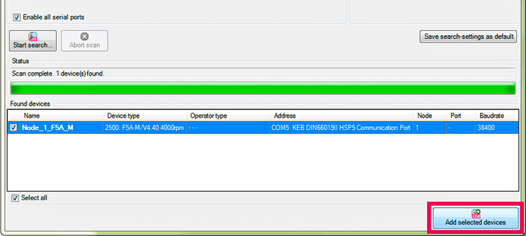 Add Device to KEB COMBIVIS Software Project