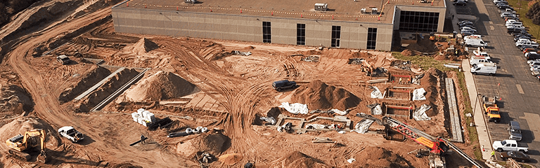 Aerial Photo of New Building construction at KEB America